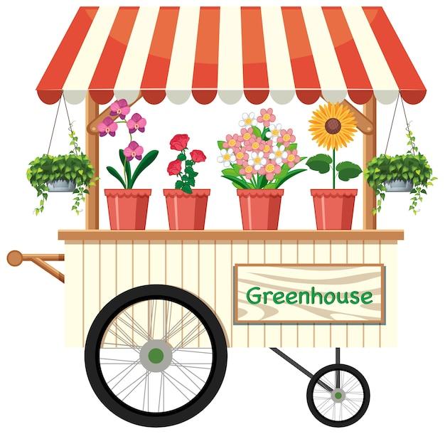 Chariot De Vendeur De Fleurs Isolé Vecteur gratuit