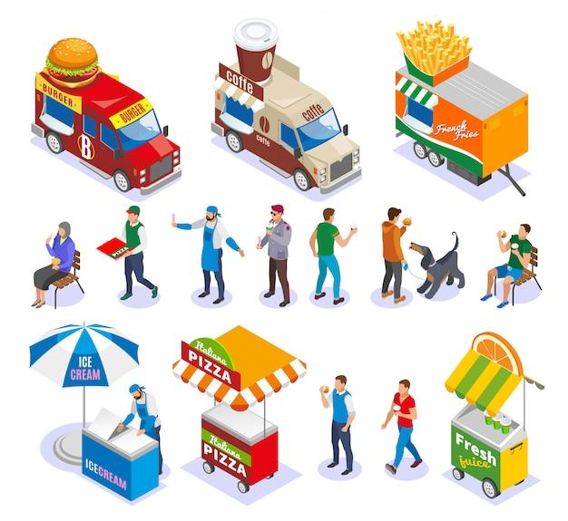 Chariots De Nourriture De Rue Et Vendeurs De Véhicules Et Clients Ensemble D'icônes Isométriques Vecteur gratuit