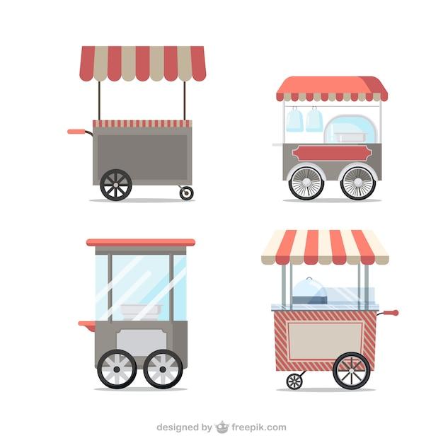 Chariots de nourriture vintage Vecteur gratuit