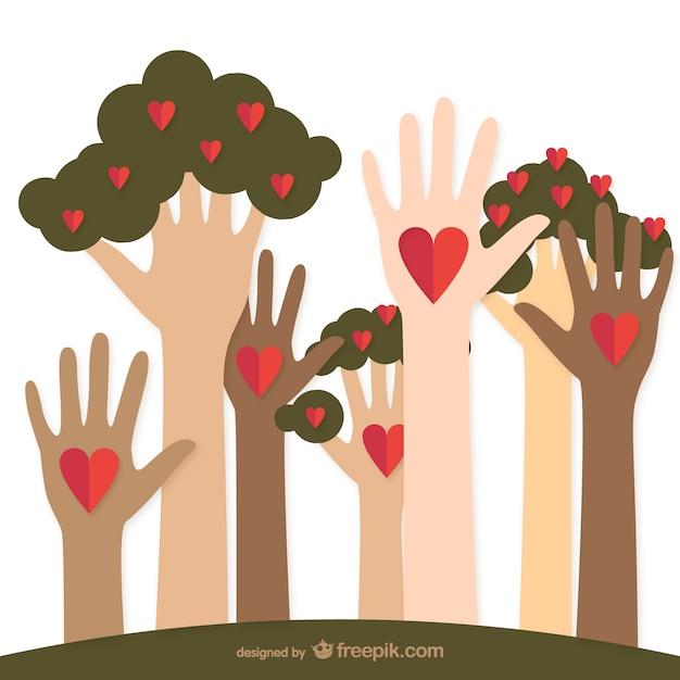 Charité aidant des mains et des arbres Vecteur gratuit
