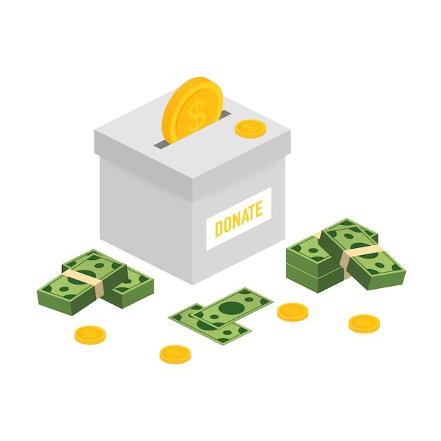 Charité, Concept De Don. Donner De L'argent Avec La Boîte Business, Finance Vecteur Premium