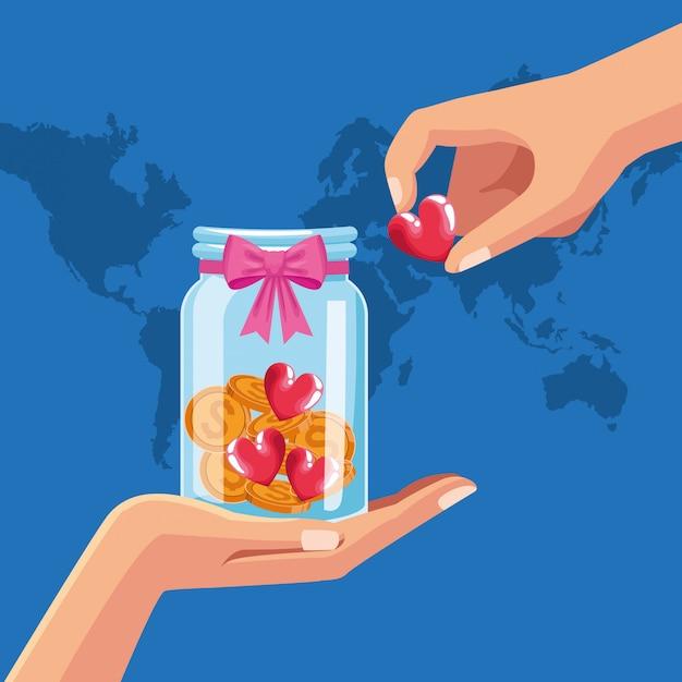 Charité et donation Vecteur Premium