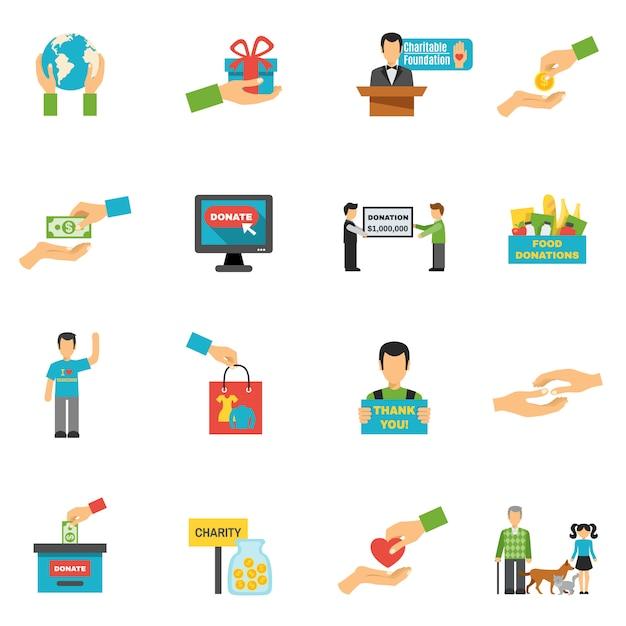 Charity icons set Vecteur gratuit