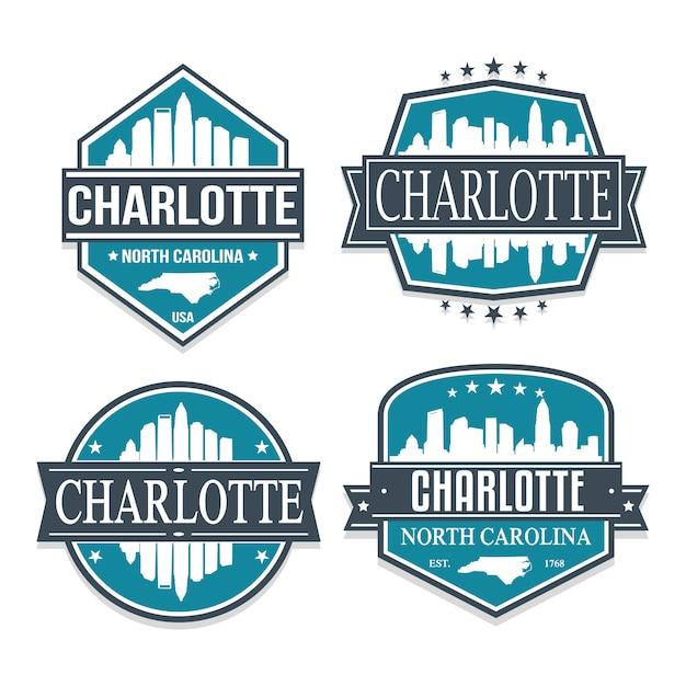 Charlotte North Caroline Ensemble De Dessins De Timbres De Voyage Et D'affaires Vecteur Premium