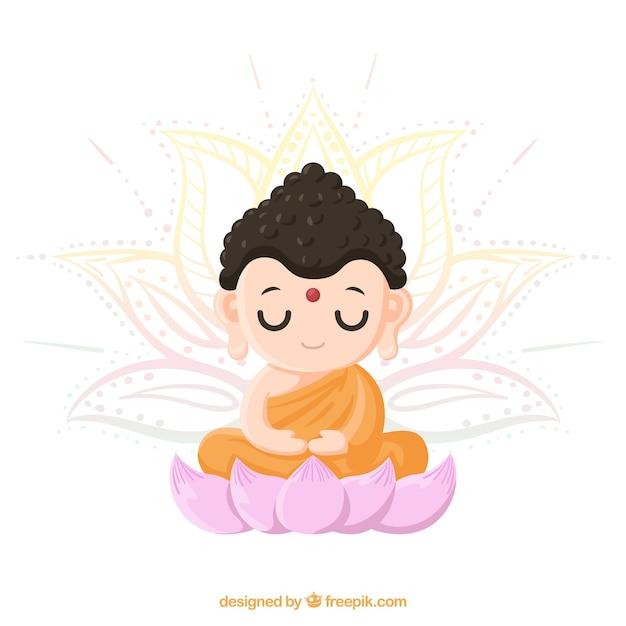 Charmant Budha Avec Style Dessiné à La Main Vecteur gratuit