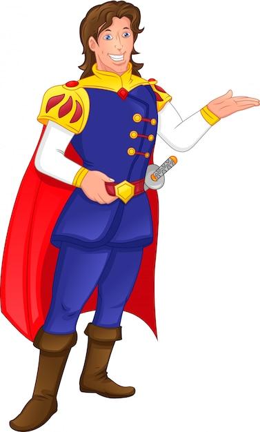 Charmant Prince Dessin Anime Vecteur Premium
