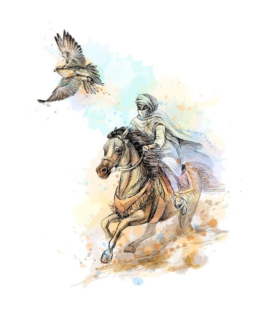 Chasse Au Faucon. Homme Arabe Avec Un Faucon Et Un Cheval D'une Touche D'aquarelle, Croquis Dessiné à La Main. Illustration De Peintures Vecteur Premium