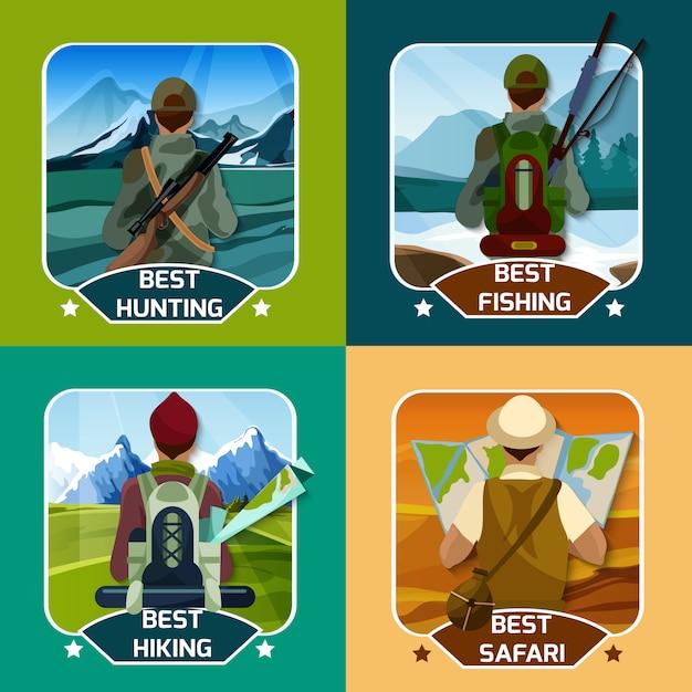 Chasse hking 4 plat icons square Vecteur gratuit