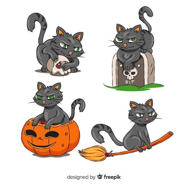 Chat assis sur tout pour halloween Vecteur gratuit