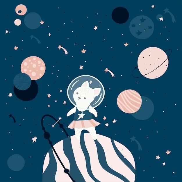 Chat Astronaute Dessiné à La Main. Vecteur gratuit