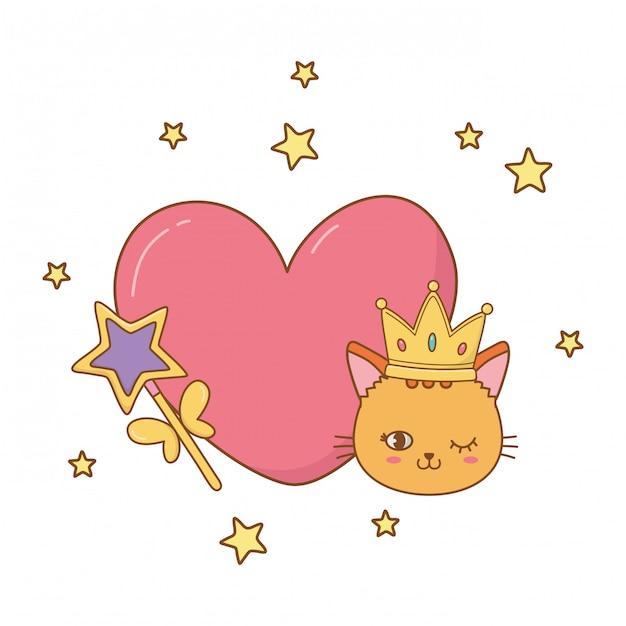 Chat et baguette avec coeur Vecteur Premium