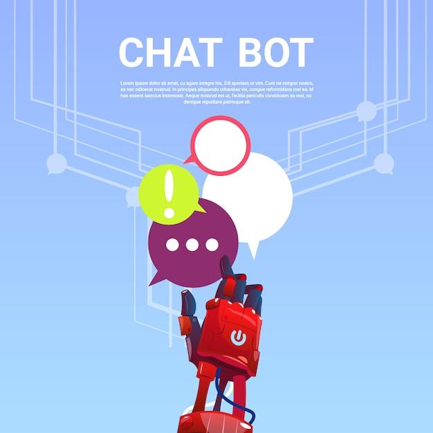 Chat bot robot assistance virtuelle de site web ou d'applications mobiles, concept d'intelligence artificielle Vecteur Premium