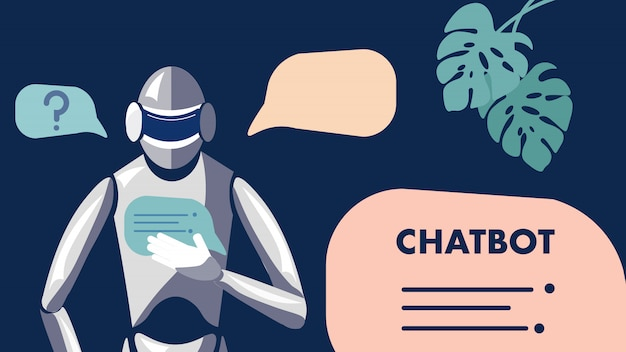 Chat Bot, Robot, Illustration D'apprentissage Automatique Vecteur Premium