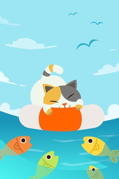 Un chat de caractère mignon dormant sur une bouée de sauvetage au fond de la mer. Vecteur Premium