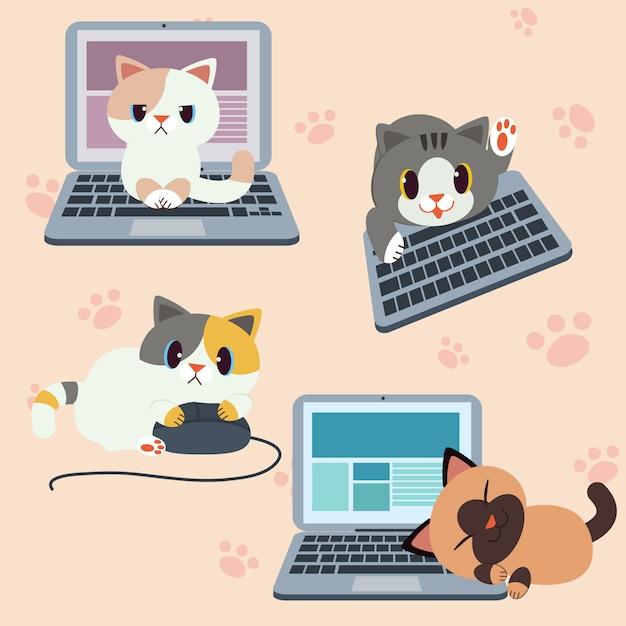 Chat de caractère mignon avec ordinateur ou ordinateur portable Vecteur Premium