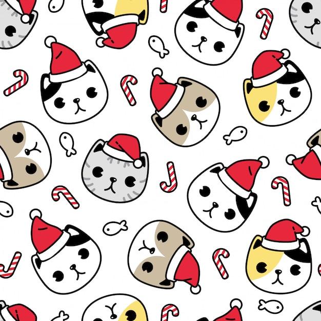 Chat Chaton Transparente Motif Noël Père Noël Personnage De Dessin Animé Vecteur Premium