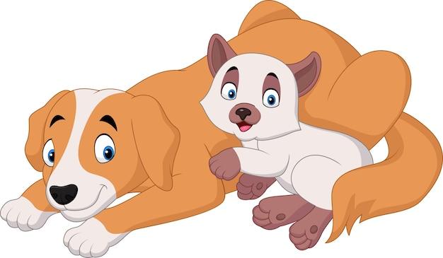 Chat et chien de dessin animé relaxant Vecteur Premium