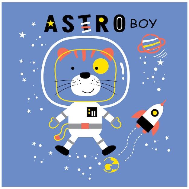 Chat Le Dessin Animé Drôle D'animaux Astro Boy, Illustration Vectorielle Vecteur Premium
