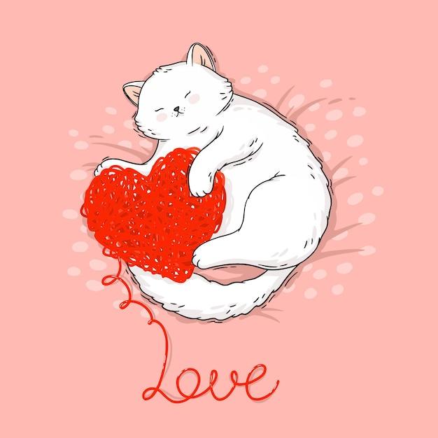 Chat De Dessin Animé Mignon Avec Illustration De Coeur Tricoté Vecteur Premium