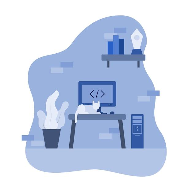 Chat devant ordinateur fond illustration Vecteur Premium