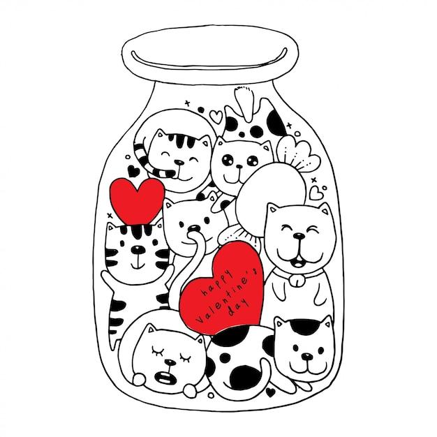 Chat Doodles En Bouteille Illustration Coloriage Pour La Saint-valentin Heureuse Vecteur Premium