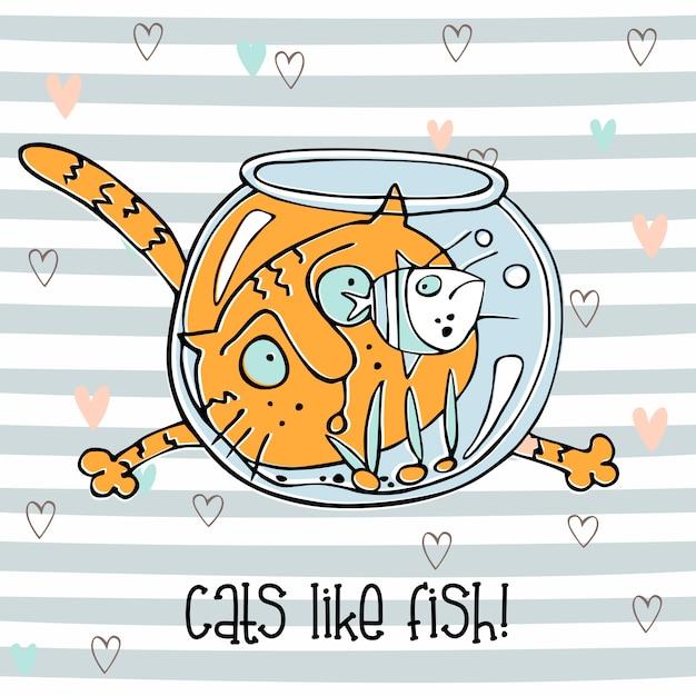 Chat gai regardant les poissons dans l'aquarium. style mignon de griffonnage Vecteur Premium