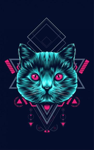 Chat géométrie sacrée Vecteur Premium