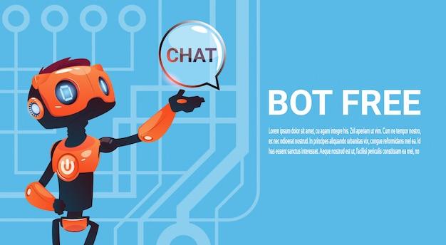 Chat gratuit, élément d'assistance virtuel du robot pour site web ou applications mobiles, intelligence artificielle Vecteur Premium