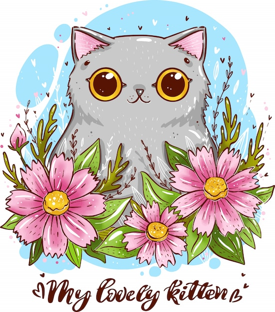 Chat gris de bande dessinée avec des fleurs de cosmos. portrait d'un chat mignon. ma belle chaton Vecteur Premium