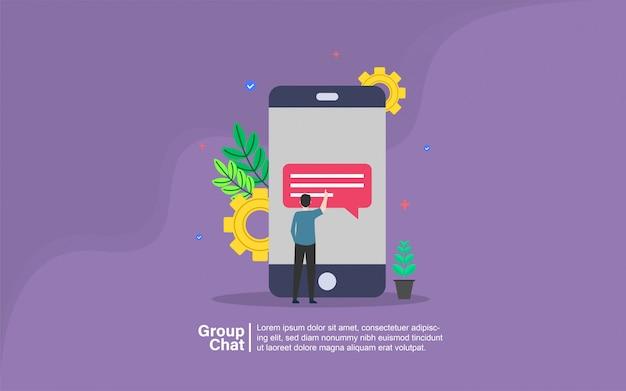 Chat en groupe avec bannière de personnage Vecteur Premium