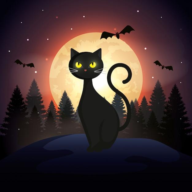 Chat d'halloween avec des chauves-souris volant et lune dans la nuit noire Vecteur gratuit