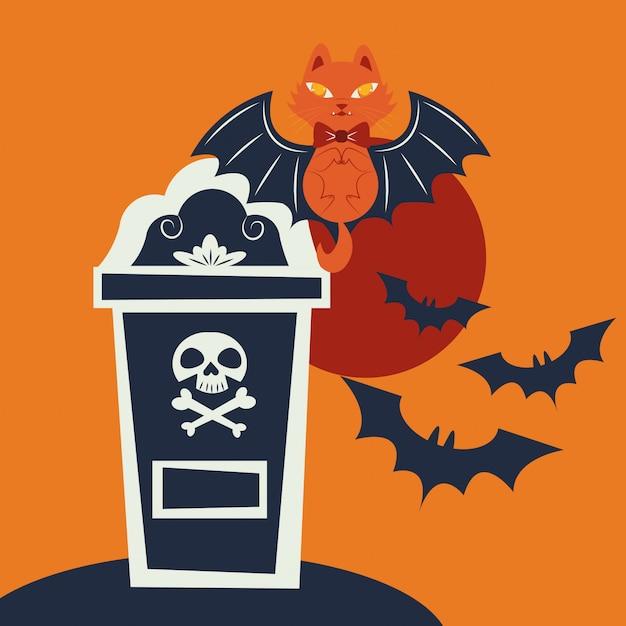 Chat d'halloween déguisé en personnage de vampire Vecteur gratuit