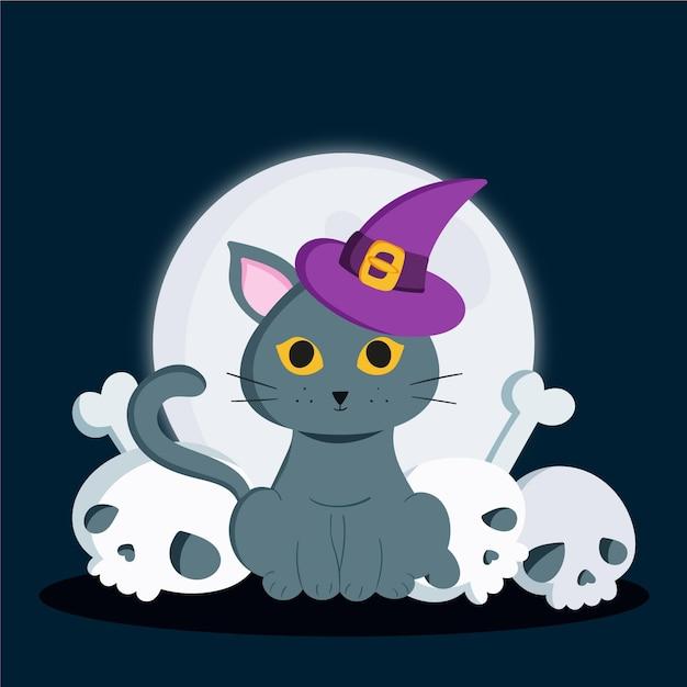 Chat D'halloween Dessiné à La Main Vecteur Premium