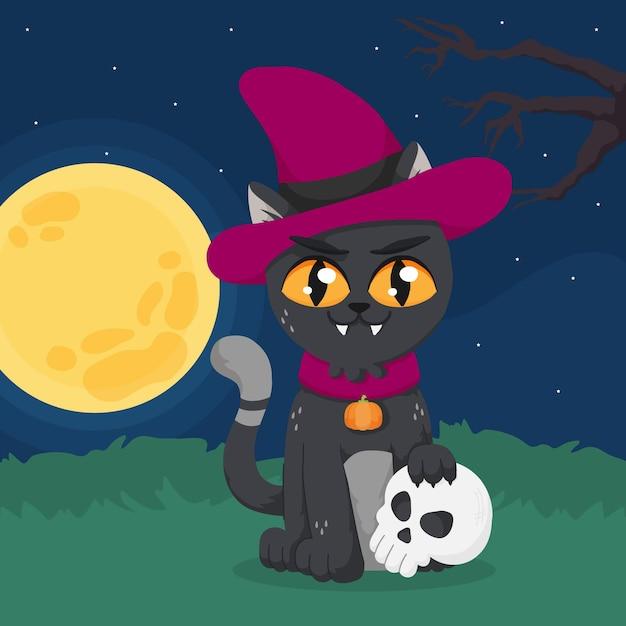Chat D'halloween Dessiné à La Main Vecteur gratuit