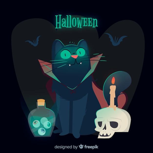 Chat d'halloween effrayant avec un design plat Vecteur gratuit