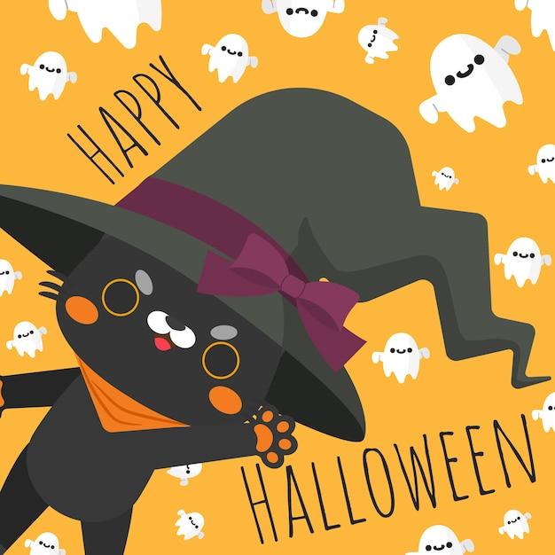 Chat d'halloween heureux en costume de sorcière. Vecteur Premium