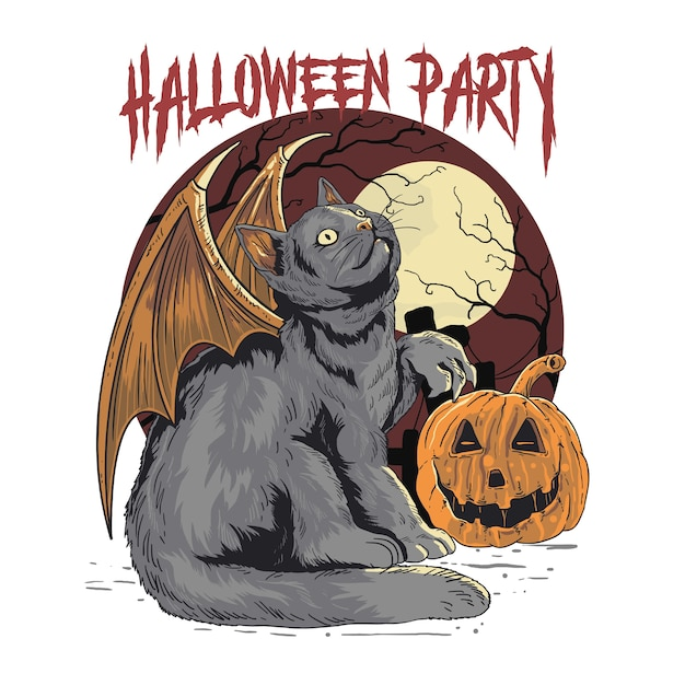 Chat d'halloween Vecteur Premium