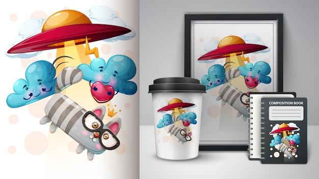 Chat, Illustration De Chat Pour La Tasse, Cadre Photo Et Agenda Vecteur Premium