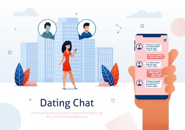 Chat sur internet, flirt en ligne, relations. Vecteur Premium