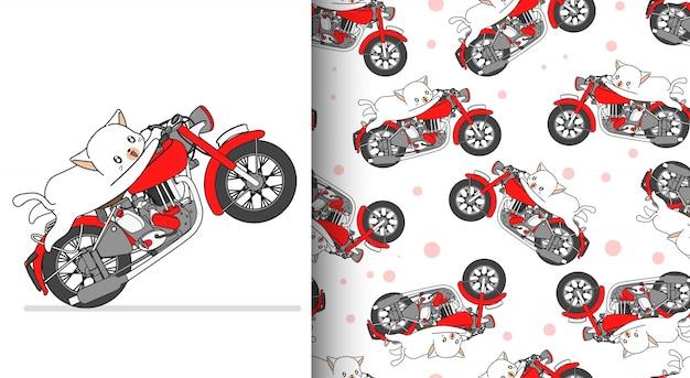 Chat Kawaii Modèle Sans Couture Est à Cheval Rouge Moto Rapide Vecteur Premium
