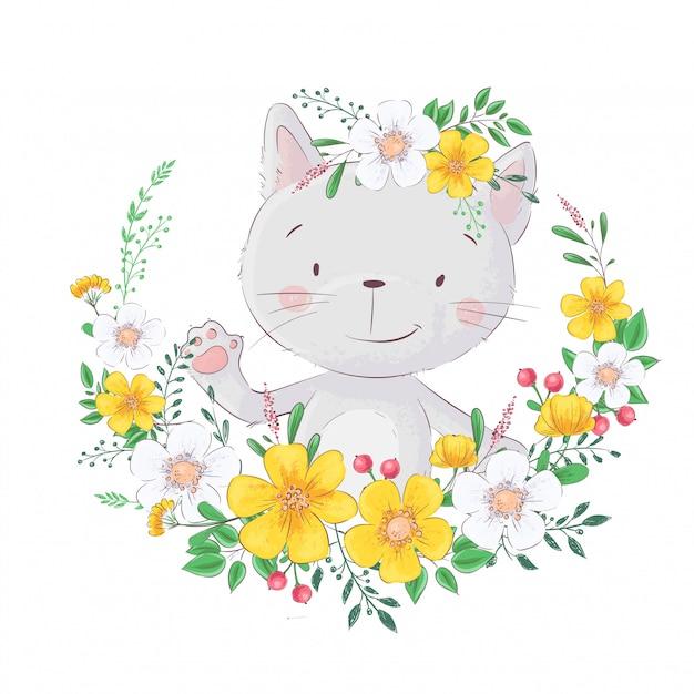 Chat mignon de bande dessinée. dans le cadre de fleurs Vecteur Premium