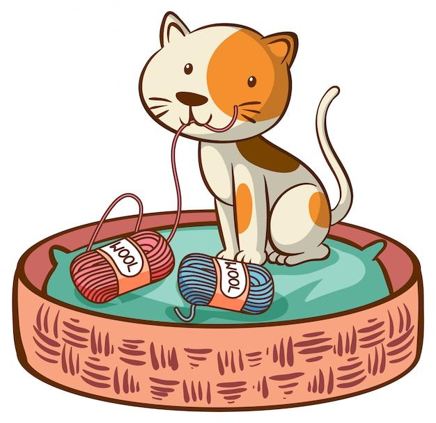Chat mignon sur blanc Vecteur gratuit