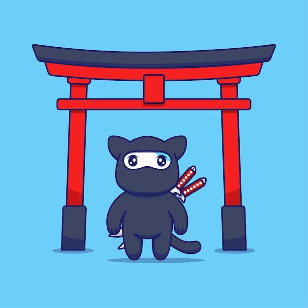 Chat Mignon Avec Costume De Ninja Devant La Porte Torii Vecteur Premium