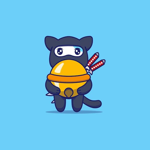 Chat Mignon Avec Costume De Ninja Portant Une Grosse Cloche Vecteur Premium
