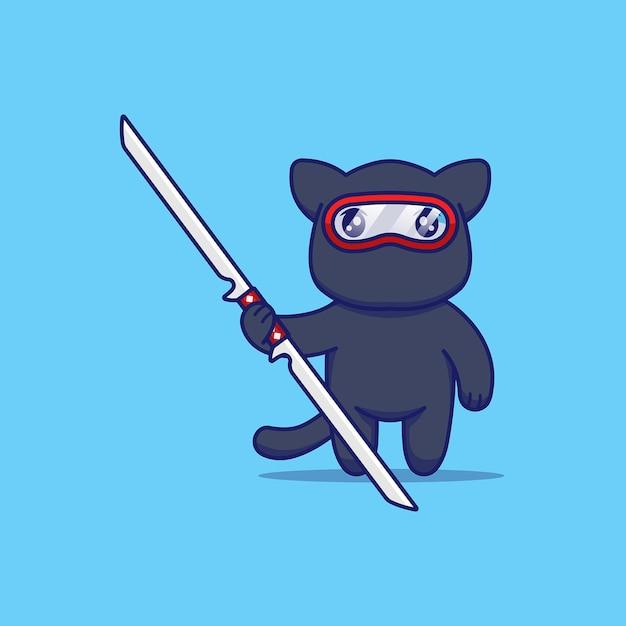 Chat Mignon Avec Costume De Ninja Prêt à Se Battre Vecteur Premium