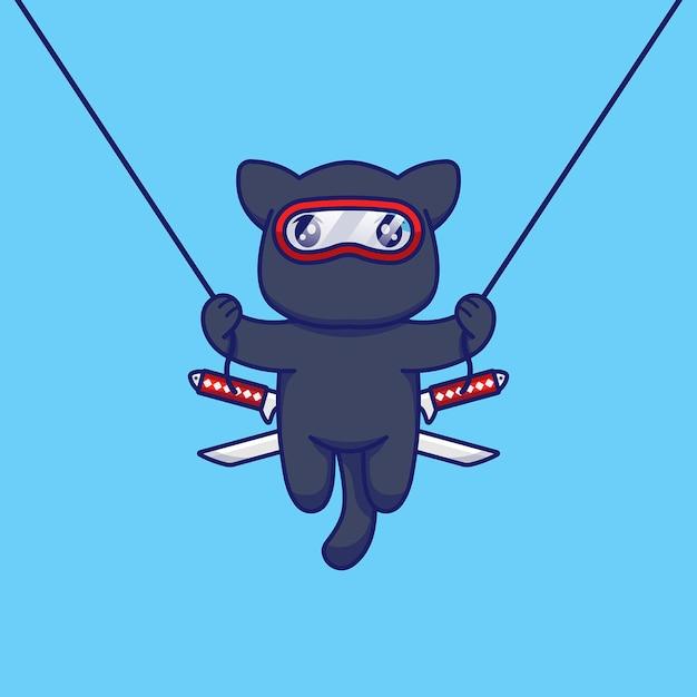 Chat Mignon Avec Costume De Ninja Sautant Et Volant Avec Une Corde Vecteur Premium