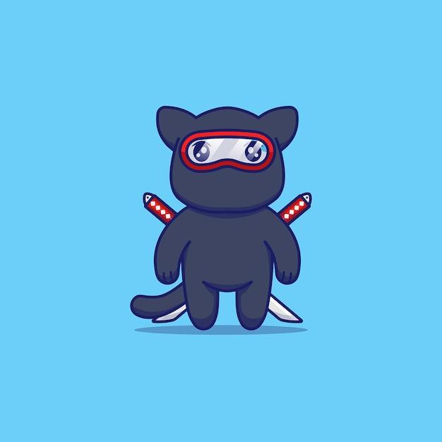 Chat Mignon Avec Costume De Ninja Vecteur Premium