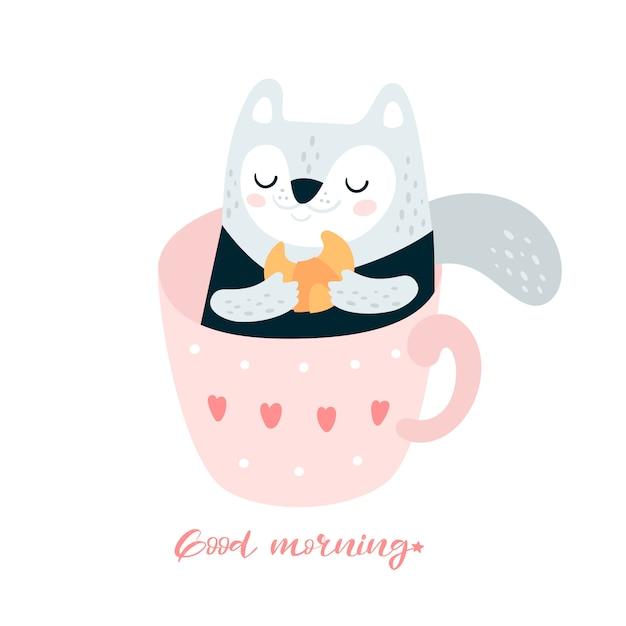 Chat Mignon Avec Un Croissant Dans Une Tasse De Café Vecteur Premium