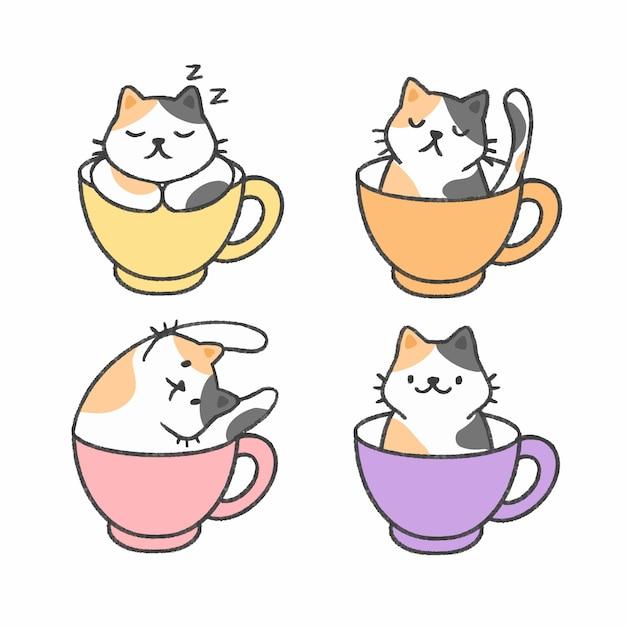 Chat mignon dans une tasse de thé collection de bandes dessinées à la main Vecteur Premium