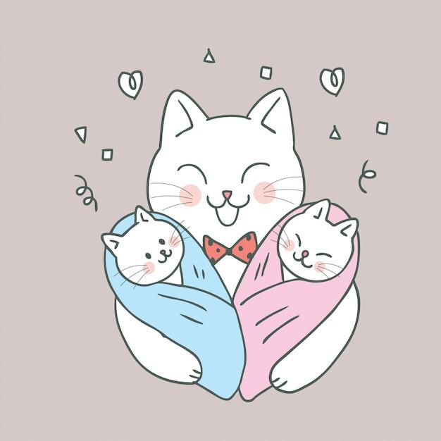 Chat mignon dessin animé maman et bébé Vecteur Premium